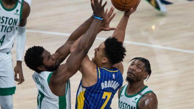 Indiana Pacers guard Malcolm Brogdon, Boston Celtics center Daniel Theis