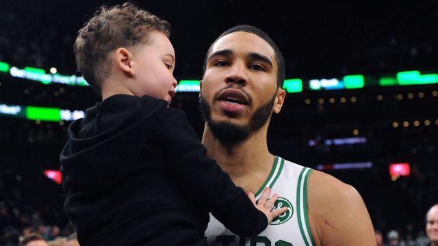 Boston Celtics forward Jayson Tatum and son Deuce Tatum