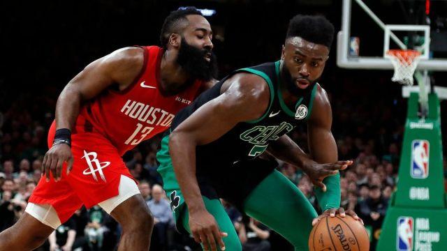 Houston Rockets guard James Harden, Boston Celtics guard Jaylen Brown