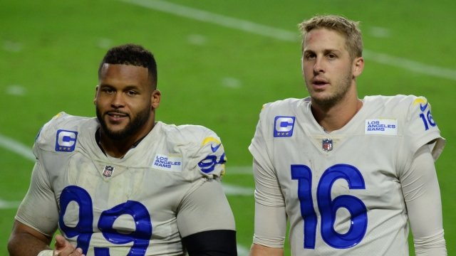Los Angeles Rams Defensive End Jared Goff and Aaron Donald