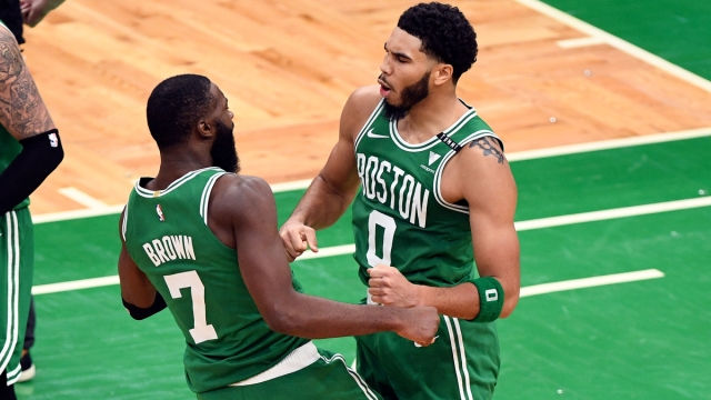 Boston Celtics guard Jaylen Brown And Forward Jayson Tatum