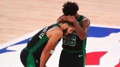 Boston Celtics forward Jayson Tatum, guard Marcus Smart