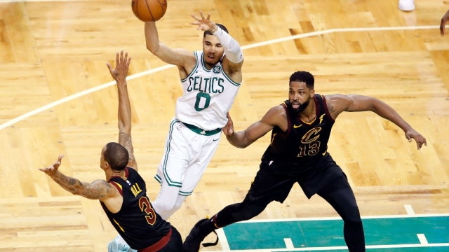 Boston Celtics forward Jayson Tatum (0) and center Tristan Thompson