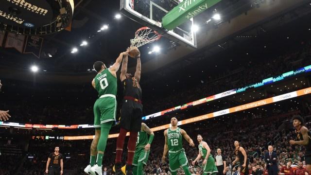 Boston Celtics center Tristan Thompson (13) and forward Jayson Tatum (0)