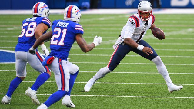 Buffalo Bills safety Jordan Poyer and New England Patriots quarterback Cam Newton