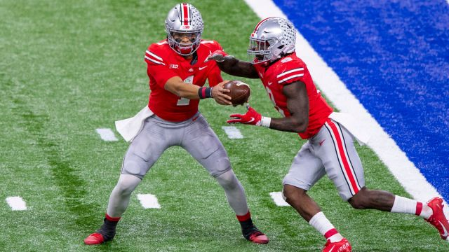 Ohio State football players Justin Fields, Trey Sermon