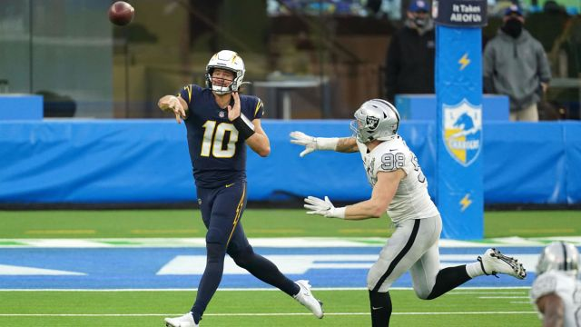 Los Angeles Chargers quarterback Justin Herbert and Las Vegas Raiders defensive end Maxx Crosby