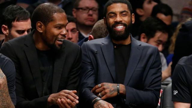 Brooklyn Nets forward Kevin Durant, guard Kyrie Irving