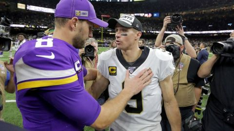Minnesota Vikings quarterback Kirk Cousins, New Orleans Saints quarterback Drew Brees