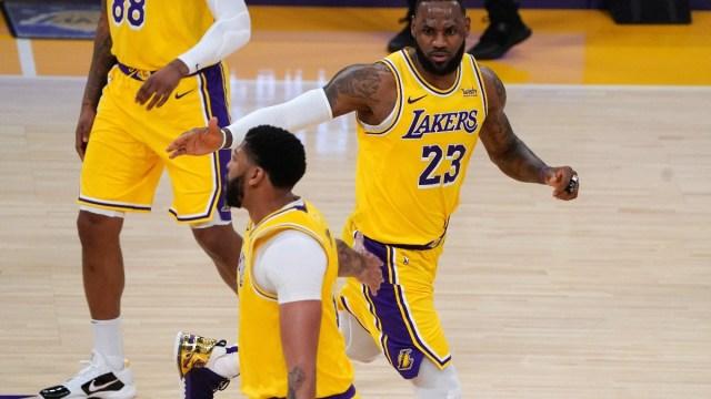 Los Angeles Lakers forward LeBron James (23) and forward Anthony Davis (3)