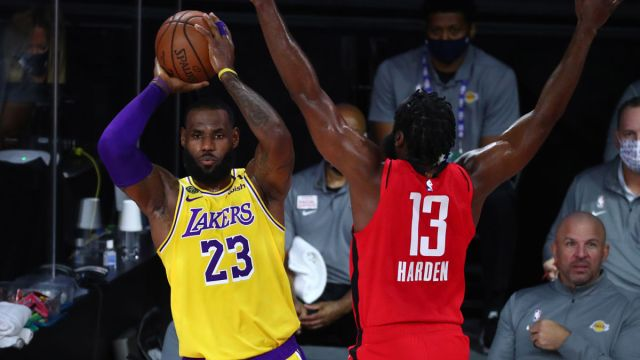 Los Angeles Lakers forward LeBron James and Houston Rockets guard James Harden