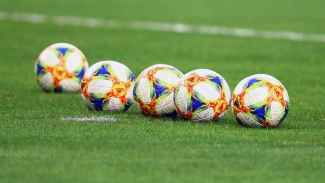 A general view of soccer balls