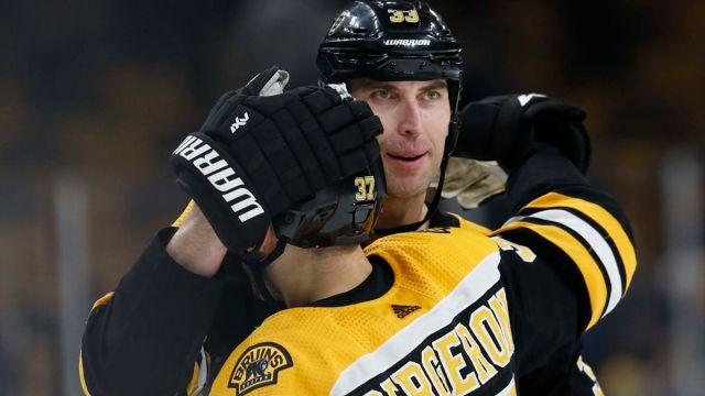 Boston Bruins Center Patrice Bergeron And Washington Capitals Defenseman Zdeno Chara