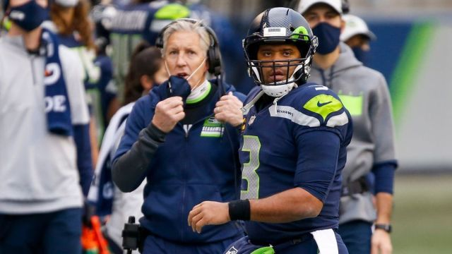Seattle Seahawks coach Pete Carroll, quarterback Russell Wilson