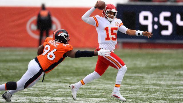 Denver Broncos defensive lineman Shelby Harris and Kansas City Chiefs quarterback Patrick Mahomes