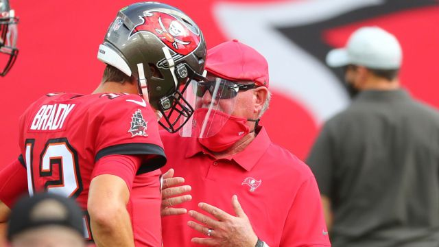 Tampa Bay Buccaneers quarterback Tom Brady and head coach Bruce Arians