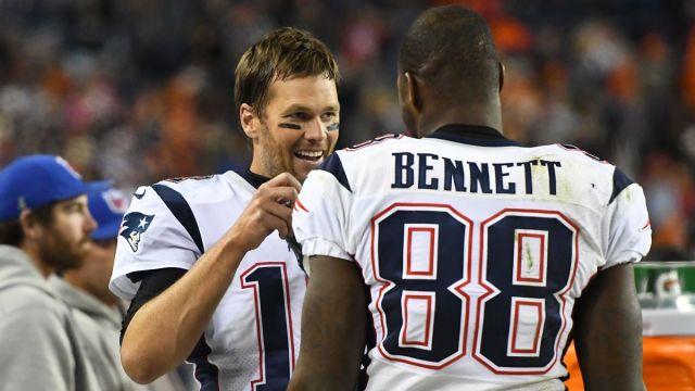 Tampa Bay Buccaneers quarterback Tom Brady and tight end Martellus Bennett