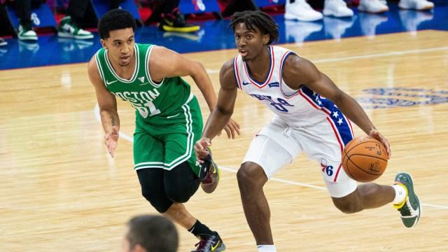 Boston Celtics guard Tremont Waters, Philadelphia 76ers guard Tyrese Maxey