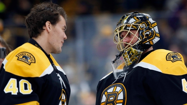 Boston Bruins goalies Tuukka Rask, Jaroslav Halak