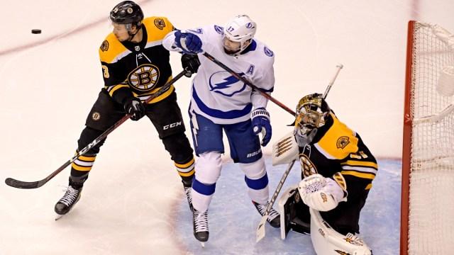 Boston Bruins defenseman Charlie mcAvoy, goalie jaroslav Halak; Tampa Bay Lightning forward Alex Killorn