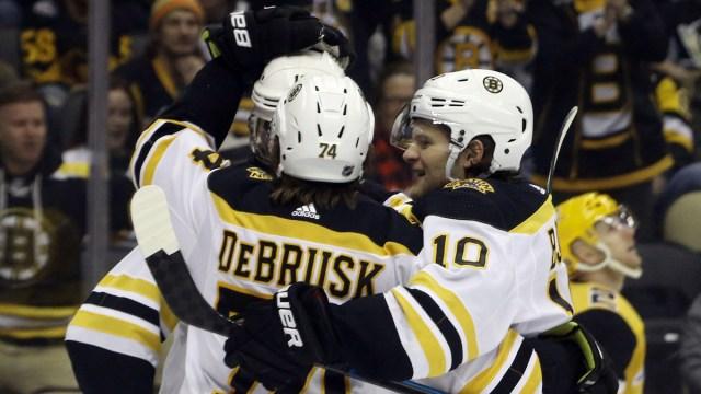 Boston Bruins wingers Jake DeBrusk, Anders Bjork