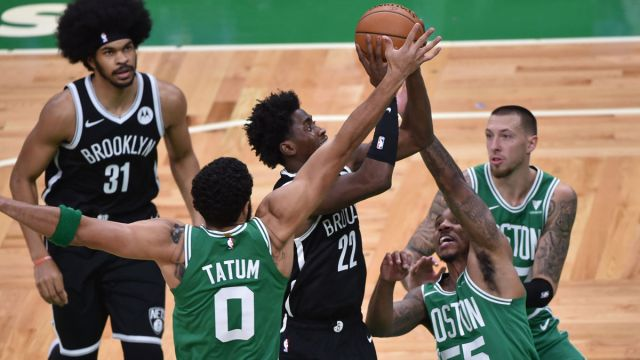 Brooklyn Nets guard Caris LeVert and Boston Celtics forward Jayson Tatum