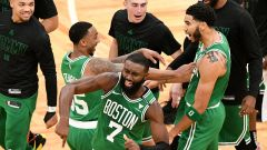 Boston Celtics forward Jayson Tatum and guards Jeff Teague and Jaylen Brown