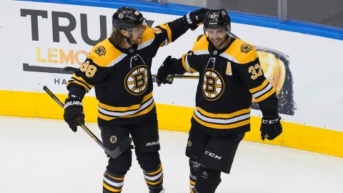Boston Bruins center Patrice Bergeron, right wing David Pastrnak