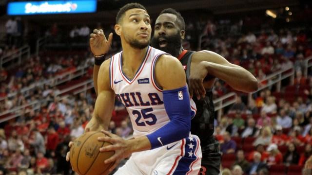 Houston Rockets guard James Harden, Philadelphia 76ers forward Ben Simmons