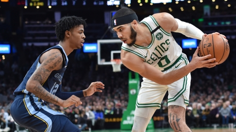 Memphis Grizzlies guard Ja Morant, Boston Celtics forward Jayson Tatum