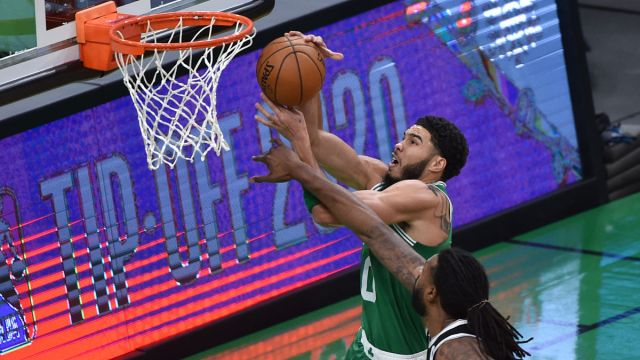 Boston Celtics forward Jayson Tatum and Brooklyn Nets center DeAndre Jordan