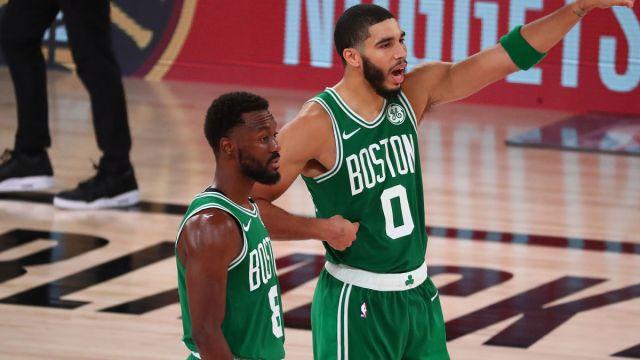 Boston Celtics players Jayson Tatum and Kemba Walker