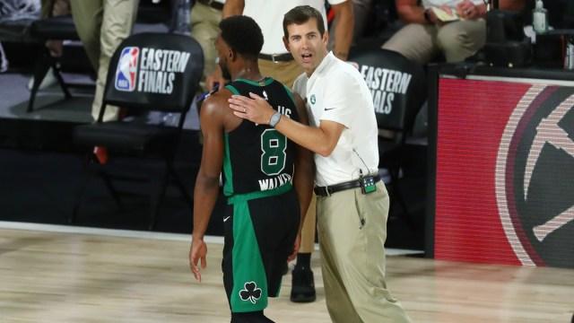 Boston Celtics point guard Kemba Walker, head coach Brad Stevens