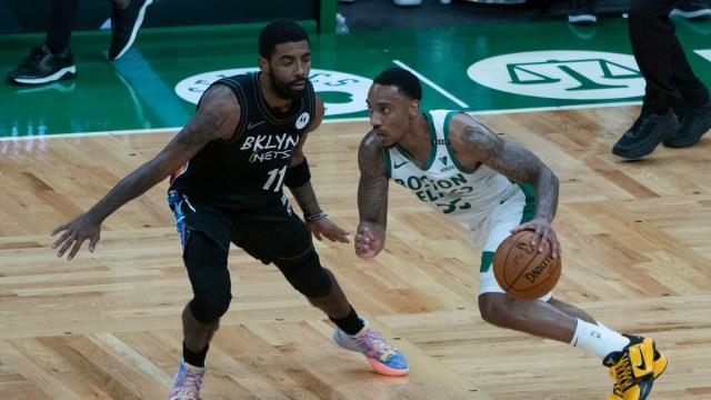 Boston Celtics point guard Jeff Teague, Brooklyn Nets guard Kyrie Irving