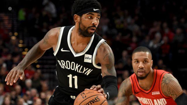 Brooklyn Nets guard Kyrie Irving and Portland Trail Blazers guard Damian Lillard
