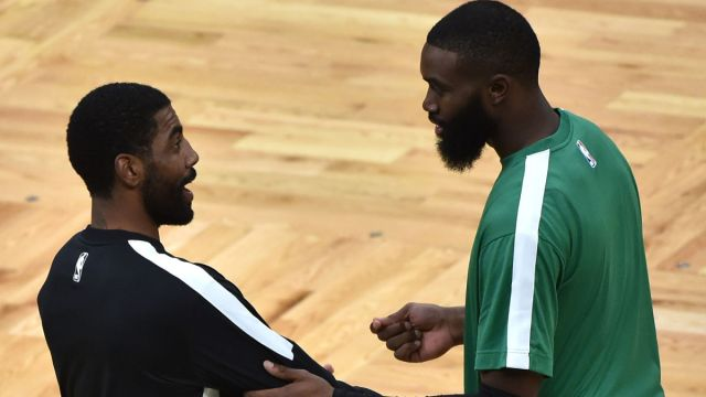 Brooklyn Nets guard Kyrie Irving and Boston Celtics guard Jaylen Brown