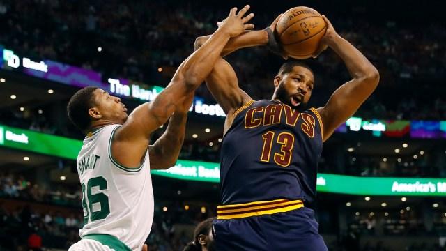 Boston Celtics center Tristan Thompson, guard Marcus Smart
