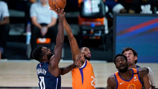 Phoenix Suns forward Mikal Bridges and Dallas Mavericks guard Tim Hardaway Jr.