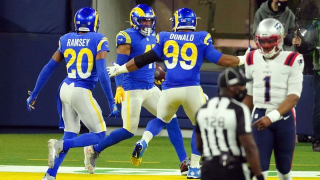 Los Angeles Rams outside linebacker Kenny Young, cornerback Jalen Ramsey and and defensive end Aaron Donald