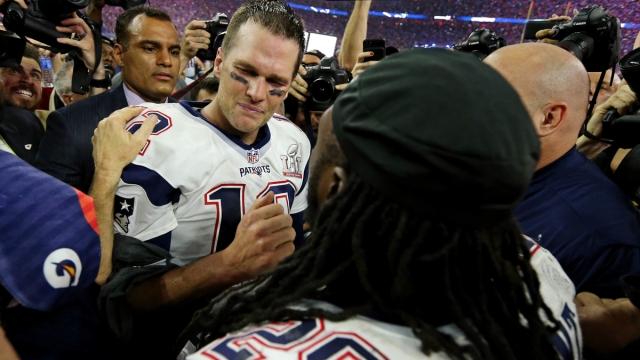 Tampa Bay Buccaneers quarterback Tom Brady, former NFL running back LeGarrette BLount