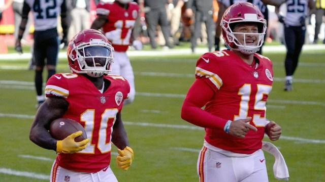 Kansas City Chiefs quarterback Patrick Mahomes, wide receiver Tyreek Hill