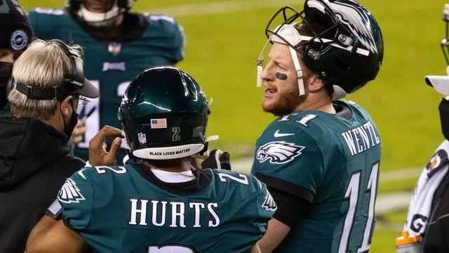 Philadelphia Eagles quarterback Carson Wentz and Jalen Hurts