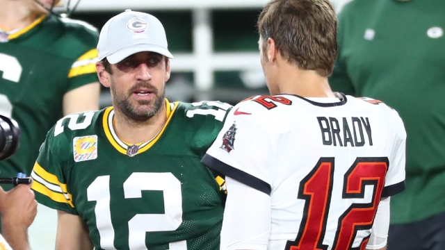 Green Bay Packers quarterback Aaron Rodgers And Tampa Bay Buccaneers Quarterback Tom Brady