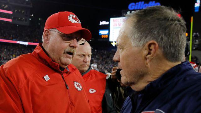 Kansas City Chiefs head coach Andy Reid, New England Patriots head coach Bill Belichick