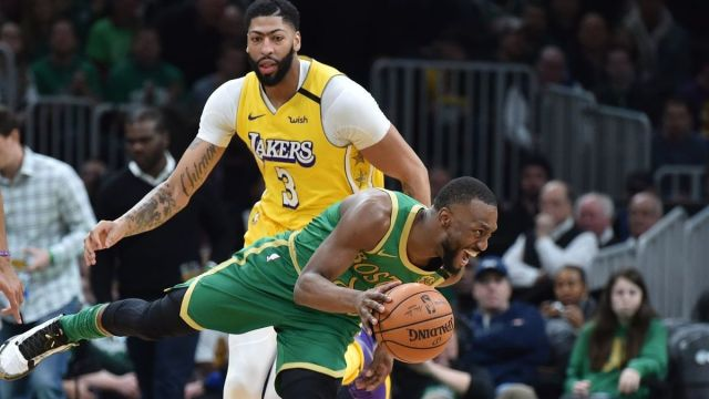 Boston Celtics guard Kemba Walker, Los Angeles Lakers forward Anthony Davis