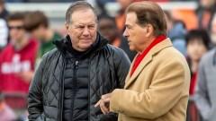 Patriots head coach Bill Belichick, Alabama head coach Nick Saban