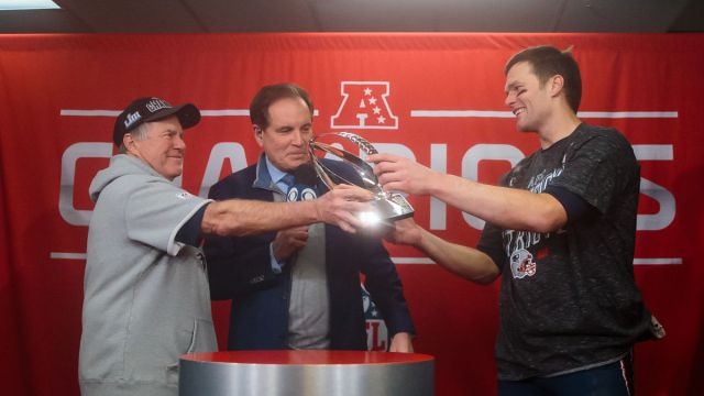 New England Patriots head coach Bill Belichick, quarterback Tom Brady