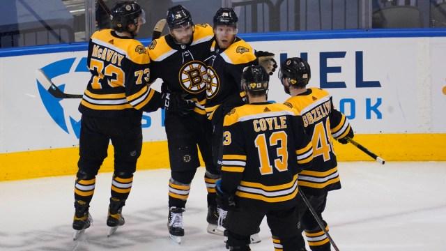 Boston Bruins' Charlie Coyle, Matt Grzelcyk, Ondrej Kase, Jake DBrusk And Charlie McAvoy