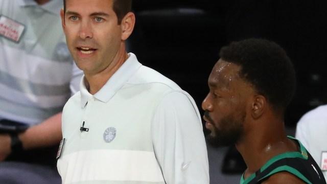 Boston Celtics coach Brad Stevens and point guard Kemba Walker