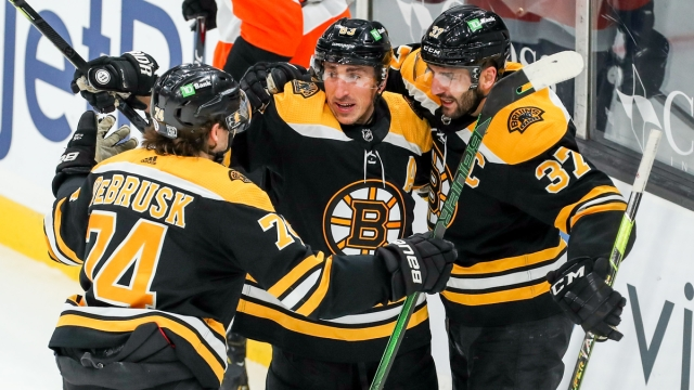 Boston Bruins Forwards Jake DeBrusk, Brad Marchand And Patrice Bergeron